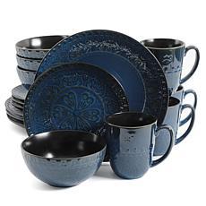 Gibson Elite Milanto 16 Piece Stoneware Dinnerware Set in Blue