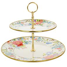 Gibson Home Ankara Enamel on Steel Two Tier Serving Stand w/ Gold Rim