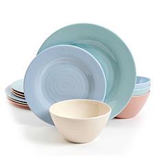 Gibson Home Brist Pastels 12-piece Melamine Dinnerware Set