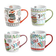 Gibson Home Fresh Snow 4-piece 18 oz. Holiday Mugs