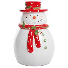 "Gibson Home Holiday Cheer 7.5"" Snowman Hand-Painted Cookie Jar"