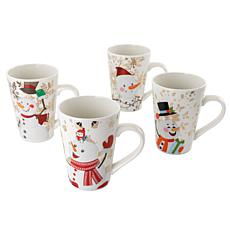 Gibson Home Holiday Snowman 4pc 17 oz. Fine Ceramic Assorted Cup Set