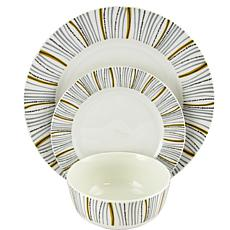 Gibson Home Neutral Geometric Decorated 12-piece Dinnerware Set