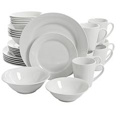 Gibson Home Noble Court 30 Piece Ceramic Dinnerware Set in White