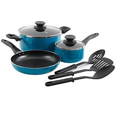 Gibson Home Palmer 8-piece Cookware Set in Turquoise