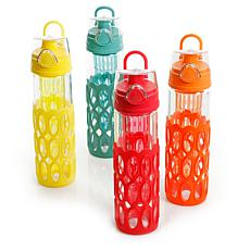 Gibson Home Rainbow Cool 4 Pc 20 Oz Glass Hydration Bottle Set with...