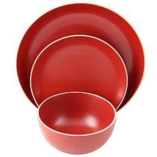 Gibson Home Rockaway 12 Piece Dinnerware Set in Matte Red