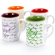 Gibson Inspirational Words 16 oz Mug 4 Assorted Designs Decorated
