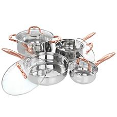 GibsonHome Bransonville 8Pc Stainless Steel Cookware Set Chrome&Bronze