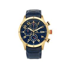 Giorgio Milano Blue Dial Blue Leather Strap Goldtone Watch