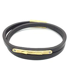 Giorgio Milano Men's Arrow Brown Leather Wrap Bracelet