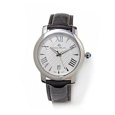 Giorgio Milano White Dial Black Iced  Leather Watch