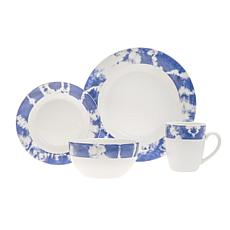 Godinger Indigo Tie Dye 16-Piece Dinnerware Set, Service for 4