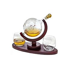 Godinger Whiskey Decanter Globe with 2 Whiskey Glasses