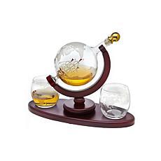 Godinger Whiskey Decanter Globe with 2 Whiskey Glasses