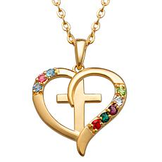 Gold Over Sterling Family Heart And Cross Birthstone Pendant