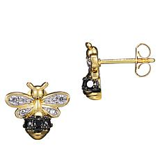 Gold-Plated Sterling Silver Cubic Zirconia Bumblebee Stud Earrings