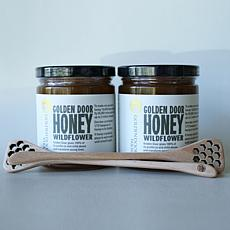 Golden Door 2-pack of Raw Wildflower Honey with Dippers