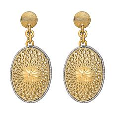 Golden Treasures 14K Diamond-Cut Filigree Oval Dangle Earrings