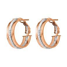 "Golden Treasures 14K Gold 11/16"" Textured Hoop Earrings"