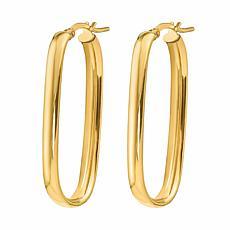 Golden Treasures 14K Gold 4mm Polished Oval Hoop Earrings