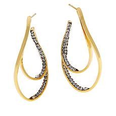 Golden Treasures 14K Gold Crystal-Accented Double Hoop Earrings