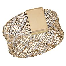 Golden Treasures 14K Italian Gold 2-Tone Criss-Cross Woven Band Ring