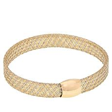 Golden Treasures 14K Italian Gold 2-Tone Woven Bangle Bracelet