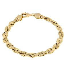 Golden Treasures 14K Italian Gold Bold Rope Chain Bracelet
