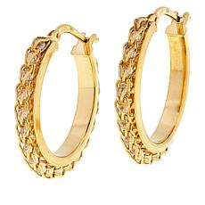 Golden Treasures 14K Italian Gold Crystal Cage Link Hoop Earrings