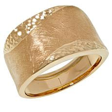 Golden Treasures 14K Italian Gold Diamond-Cut and Matte-Finish Ring