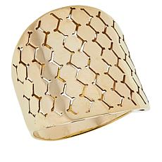 Golden Treasures 14K Italian Gold Mosaic Band Ring