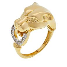 Golden Treasures 14K Italian Gold Panther Head CZ Ring