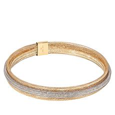 Golden Treasures 2-Tone 14K Italian Gold Woven Mesh Bangle Bracelet