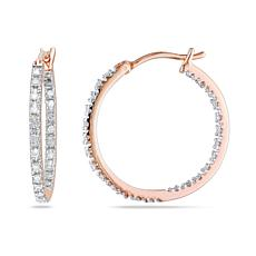 Goldtone Sterling Silver 0.25ctw Diamond Inside-Outside Hoop Earrings