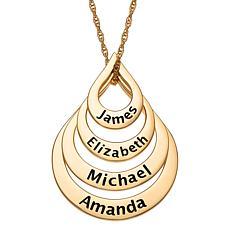 Goldtone Sterling Silver Nesting Teardrop Names Necklace - 4 Names