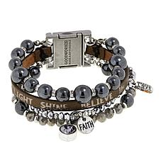 "Good Work(s) ""Be the Light That Shines"" Beaded Leather 4-Row Bracelet"