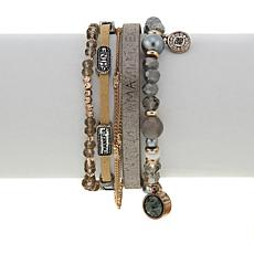 "Good Work(s) ""God Reminds Me"" Beaded Leather 5-Row Bracelet"