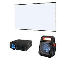 """GPX Indoor/Outdoor Projector with 130"""" Screen and Speaker"""