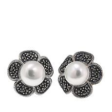 Gray Marcasite and Cultured Pearl Flower Stud Earrings