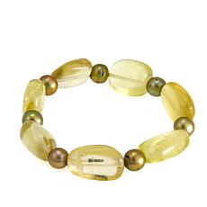 Green Cultured Freshwater Pearl and Green Quartz Bead Bracelet