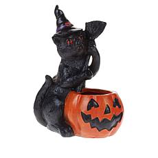"Halloween 12"" Illuminated Cat with Smoking Pumpkin"