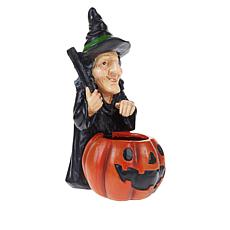 "Halloween 12"" Illuminated Witch with Smoking Pumpkin"