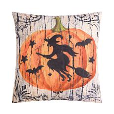 Halloween Pumpkin Witch Indoor Outdoor Pillow