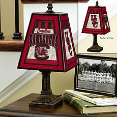 Handpainted Art Glass Team Lamp - South Carolina - College