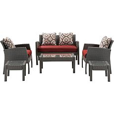 Hanover Chelsea Collection 6pc Patio Set - Crimson Red