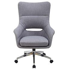 Hanover Gray Carlton Wingback Wheeled Office Chair w/Gas Lift Seating