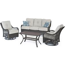 Hanover Orleans 4-Piece Patio Set - Silver Lining