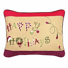 Happy Holidays Embroidered Pillow