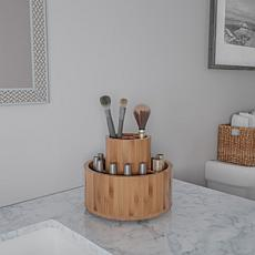 Hastings Home Bamboo Tabletop Desk and Vanity Organizer Carousel